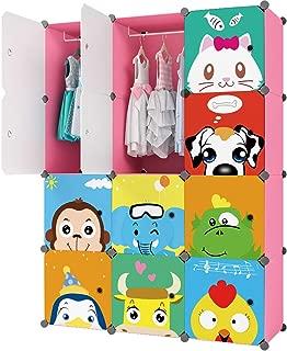 KOUSI Baby Clothes Rack Kid Wardrobe Closet (Pink, 8 Cubes 2 Hanging Sections)