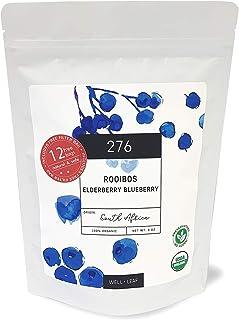 WellLeaf Tea Loose Leaf Rooibos Elderberry Blueberry Long Cut Tea Caffeine Free South African RED TEA 8 oz