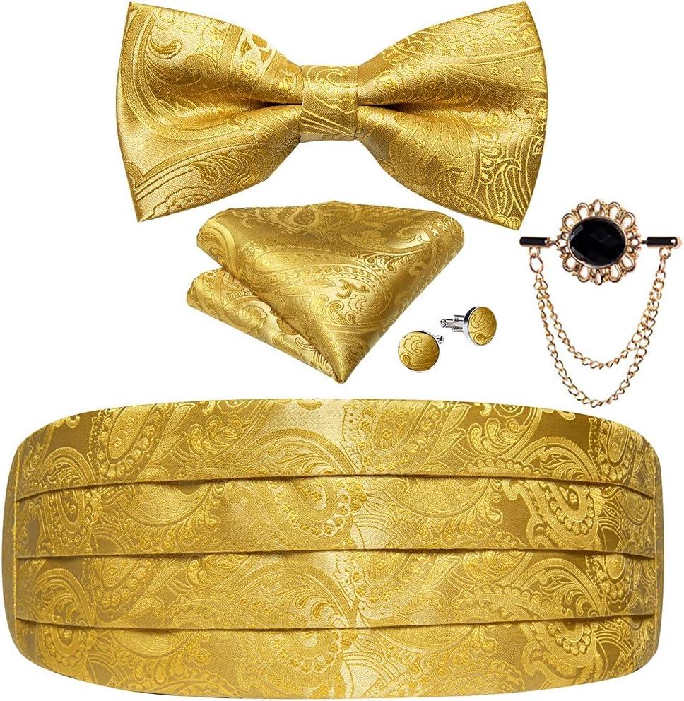 WODMB Silk Pink Solid Cummerbuns For Men Formal Wedding Party Tuxedo Cummerbunds Bow Set Elastic Wide Waistband (Color : Gold, Size : One size)