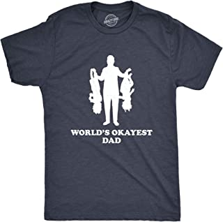 Crazy Dog T-Shirts Mens Worlds Okayest Dad Holding Upside Down Kids T Shirt Funny Father's Day Tee