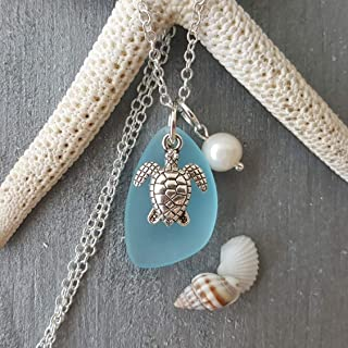 Handmade in Hawaii, Turquoise bay blue sea glass necklace, sea turtle charm, Freshwater pearl,