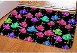 CoolToiletLidCoverCC chaqlin Stylish Flower Puzzle Soft Flannel Anti-Slip Floor Mat for Bedroom Living Room Kitchen Bathroom Home Decor