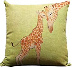 Leaveland Giraffe and Its Mother Throw Pillow Case Decor Cushion Covers Square 1818 Inch Beige Cotton Blend Linen (Multi-Color)