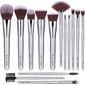 Brochas de maquillaje profesional 14 PCS para cara y ojos de alta calidad | Makeup brushes set plateado de cerdas sintéticas suaves y calidad premium, aplica base, BB cream, polvos, blush (14 pcs)