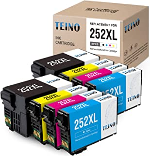 TEINO Remanufactured Ink Cartridges Replacement for Epson 252XL 252 XL for Workforce WF-7710 WF-3640 WF-7720 WF-3620 WF-7620 WF-7610 WF-7210 WF-7110 (2 Black, 2 Cyan, 2 Magenta, 2 Yellow, 8 Pack)