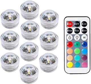COOLEAD 10Pcs RGB LED Luz Sumergible Control Remoto Bajo el