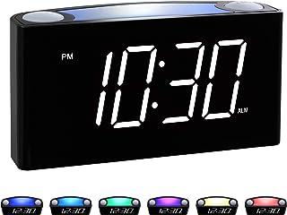 ساعت زنگ دار دیجیتال Rocam برای اتاق خواب ها - صفحه نمایش بزرگ LED 6.5 اینچی با رنگ کم نور ، تعویق ، 7 رنگ شب روشن ، تنظیم آسان ، شارژر USB ، تهیه نسخه پشتیبان از باتری ، 12/24 ساعت برای خواب آوران سنگین ، کودکان ، کودکان ، میز ، سالمندان