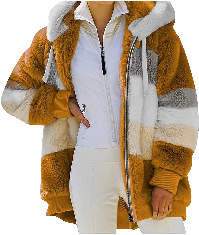 Women Color Block Hoodies Faux Fur Plush Jacket Full Zip Outwear with Pocket