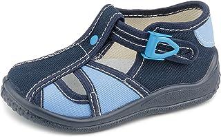 Zetpol Igor 2397 Toddler Boys Navy Blue Natural Canvas Fisherman Metal Cam Lock Buckle Closure Sandal