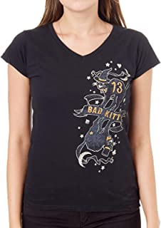 Lucky 13 Black Bad Kitty V-Neck Womens T-Shirt (Large, Black)