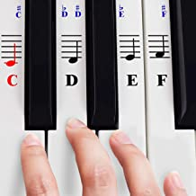 Piano Stickers for 49/61/ 76/88 Key Keyboards – Transparent and Removable with Free Piano Ebook; Made in USA