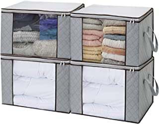 LivingBox Foldable Storage Containers Fabric See-Through Window, Household Home Organizers, Oxford Fabric Storage Bins, 4 Pack