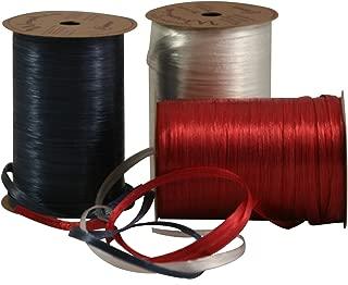 Raffia Gift Wrap Ribbon Bundle (Pearlized red/White/Blue)