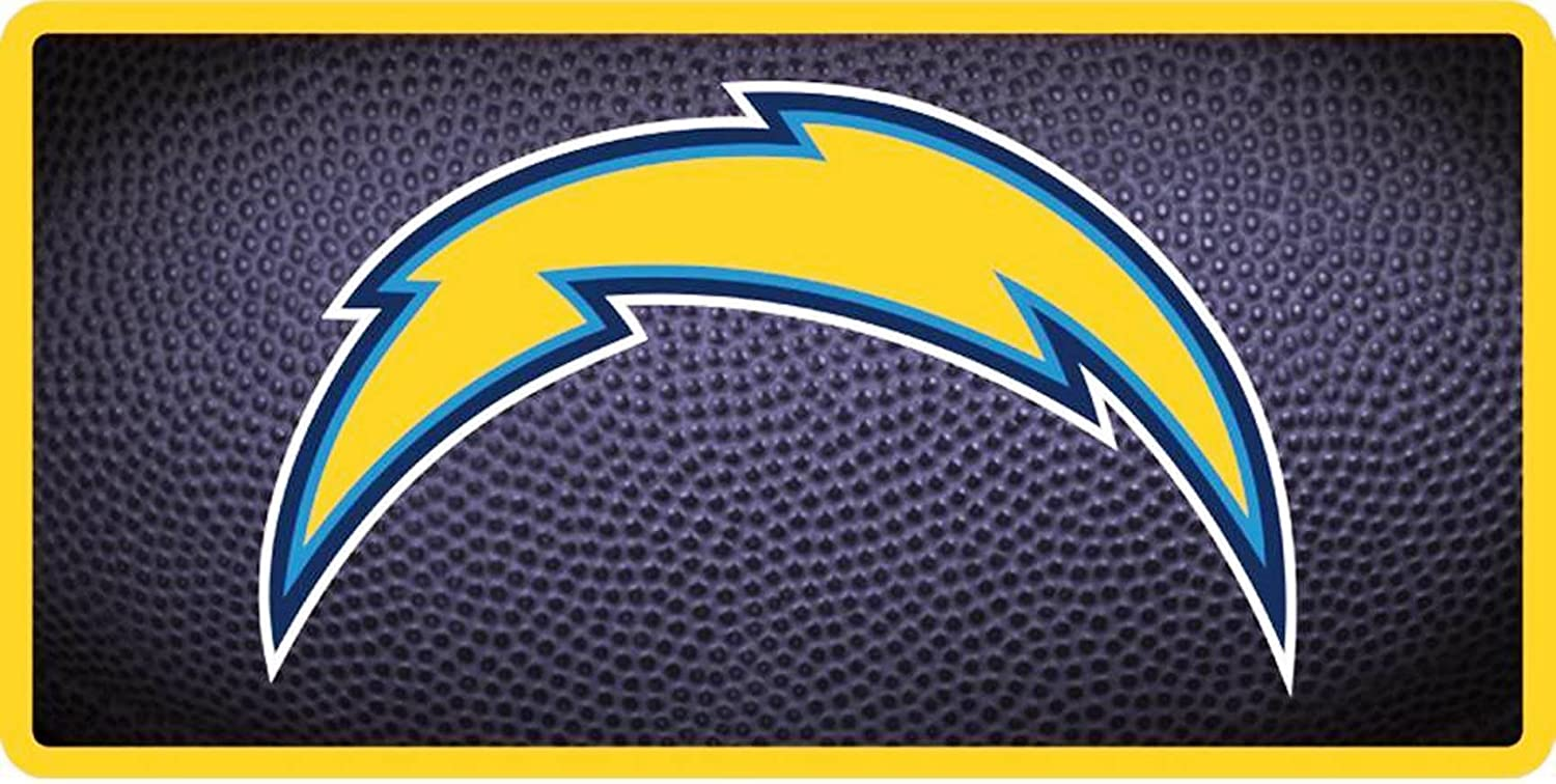 Los Angeles Chargers Team Ball Design Deluxe Laser Cut Acrylic Inlaid License Plate Tag Football