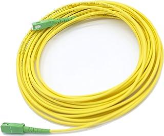 PRENDELUZ Cable Fibra ÓPTICA 10 Metros Universal - Color Amarillo SC/APC a SC/APC monomodo simplex 9/125, Compatible con O...