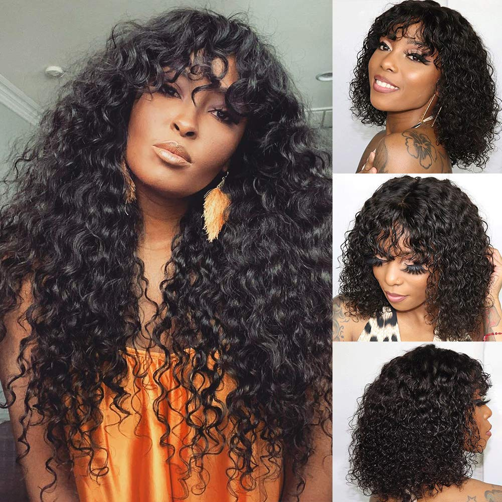 VSHOW Human 誕生日プレゼント Hair Wigs with Bangs None Curly Wave Water ファッション通販 Brazilian
