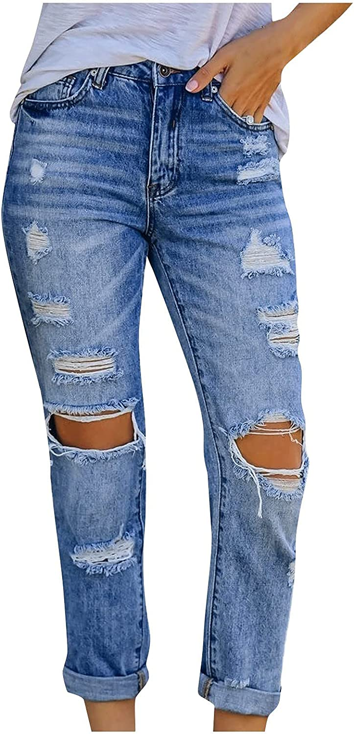 Amazingdays Boyfriend Jeans Ripped Womens Straight Leg Distressed Blue Jeans for Women High Waist Casual Trendy Jeans