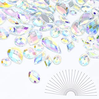 WXJ13 Sew On Rhinestones 120 Pieces Flatback Crystal Gems AB Acrylic with 25 Pack Needles for DIY Project