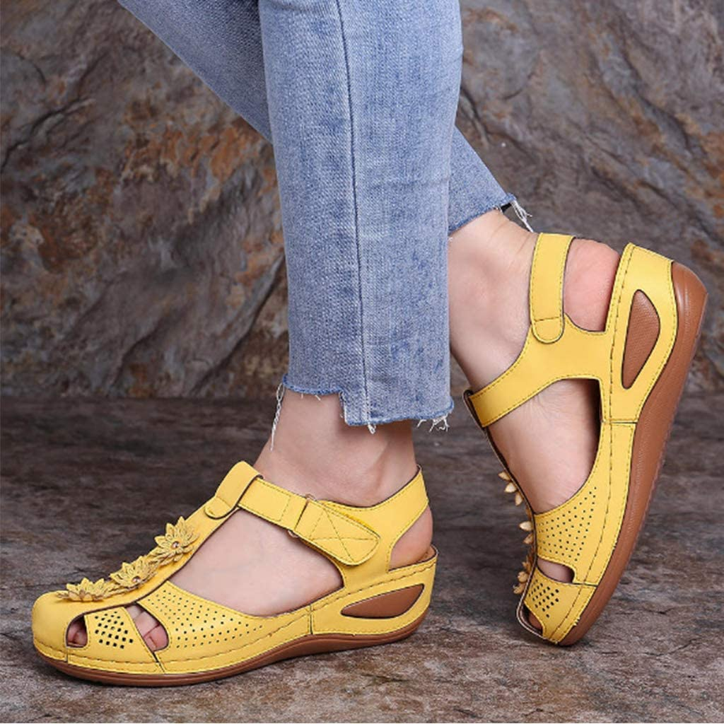 Ladies Sandal Comfy Wedge Strap Flat Shoes Summer Closed Toe Platform Leather Wide Fit Sandal Hollow Post Toe Shoes Wedge Sandals