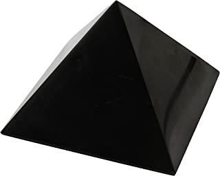 Heka Naturals Polished Shungite Pyramid 3 Inches, Contains Fullerenes for EMF Protection   Authentic Anti-Radiation Shungite Stone Figures from Karelia, Russia   3 Inches Pyramid, Polished