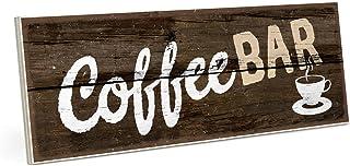 ARTFAVES Cartel de madera con texto en alemán – Coffee Bar – Vintage shabby decoración de pared/puerta