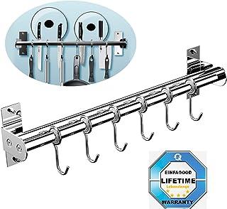 EINFAGOOD® El soporte de cuchillos, gancho de cocina 6 ganchos con portacuchillas, doble tubo de acero inoxidable, 40 cm de largo (pulido brillante)