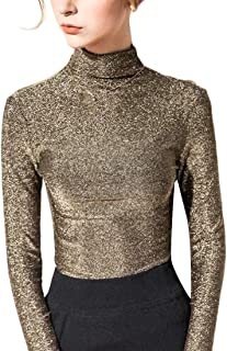 ZXFHZS Womens Long Sleeve Solid Sequin High Neck Slim Basic Shirt