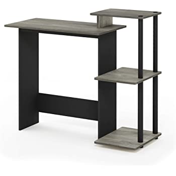 FURINNO Efficient Home Laptop Notebook Computer Desk, Square Side Shelves, French Oak Grey/Black