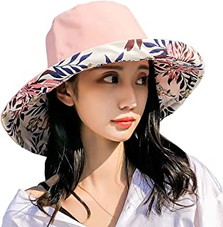 Double-sided Floral women's sunshade hat to shield from ultraviolet sunshine Wide-brimmed summer girls Beach Hat foldable/...