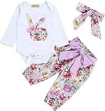 Newborn Baby Girls Boys Easter Romper Set Bunny Print Bodysuit Jumpsuit Floral Halen Pants with Headband 3Pcs Outfit Clothes