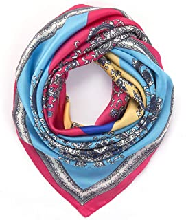 "Lusm 35.4"" Silk Like Scarf for Women Large Square Satin Neck Scarves Fashion Pattern Lightweight Hair Head Wraps"