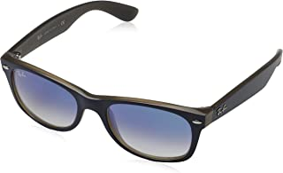 RAY-BAN RB2132 New Wayfarer Sunglasses, Matte Blue On Brown/Blue Gradient, 52 mm