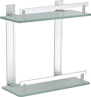 MSV Estante 2 Niveles DE Aluminio Y Vidrio TABARCA 30 X 13 CM, Cromado, 30x30x13 cm