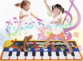 Toys for 2+ Year Old Toddlers, DELFINO Piano Mat Gift for Boys Girls Age 1+, 19 Musical Keyboard Floor Playmat Toddlers St...
