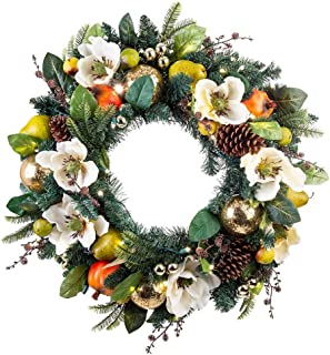 [30 Inch Artificial Christmas Wreath] - Magnolia Orchard Collection - Pear and Pomegranate Decoration - Pre Lit with 50 Warm Clear LED Mini Lights - Includes Remote Controlled Battery Pack with Timer