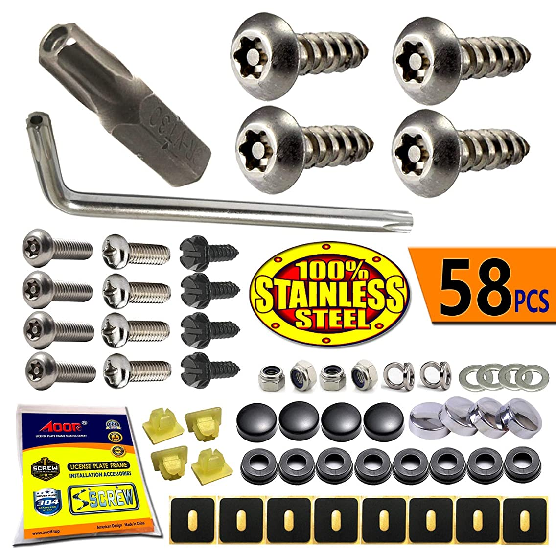 License Plate Screws Anti Theft - Stainless Steel Security Screws License Plate Bolts Fasteners,Tamper Proof Protection for License Plates on Cars Trucks, Black Chrome Caps -58PC Ultimate Set