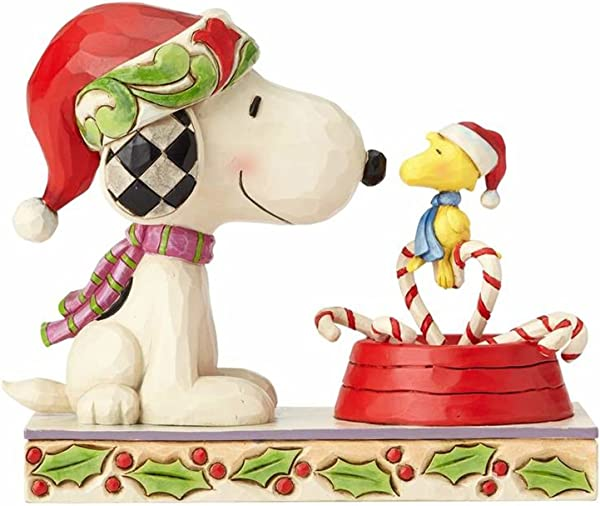 Enesco Peanuts By Jim Shore Snoopy And Woodstock With Candy Canes Stone Resin 5 Figurine