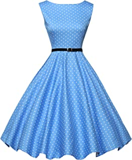d22f589a07c GRACE KARIN Boatneck Sleeveless Vintage Tea Dress with Belt