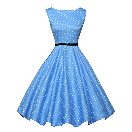 efdc504b1c1 GRACE KARIN Boatneck Sleeveless Vintage Tea Dress Belt