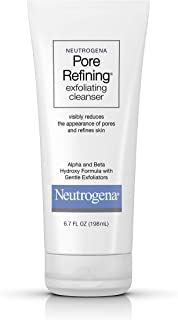 Neutrogena Pore Refining Exfoliating Facial Cleanser with Glycolic Acid Formula, Daily Exfoliating Face Wash with Alpha & Beta Hydroxy Acid to Minimize Pores, Non-Comedogenic & Soap-Free, 6.7 fl. oz