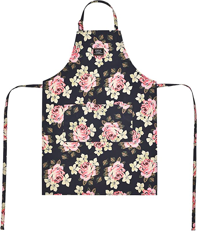 NiceEbag Adjustable Bib Apron With Pockets For Women Girls Chef Adult Cooking BBQ Grilling Baking Gardening Cleaning Kitchen Canvas Waterproof Extra Long Ties Floral Cute Orchid
