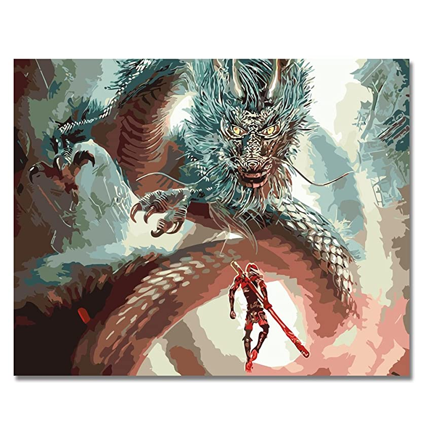 BOSHUN Paint by Numbers Kits with Brushes and Acrylic Pigment DIY Canvas Painting for Adults Beginner- Dragon and Monkey King 16 x 20 inch(Without Frame)