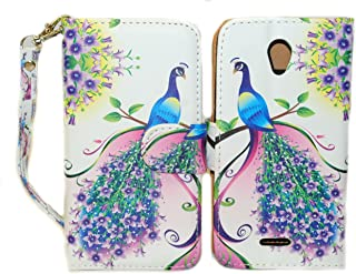 Purple & Pink Peacock Wallet Leather Case for Alcatel One Touch Pop Astro 5042T with Kickstand