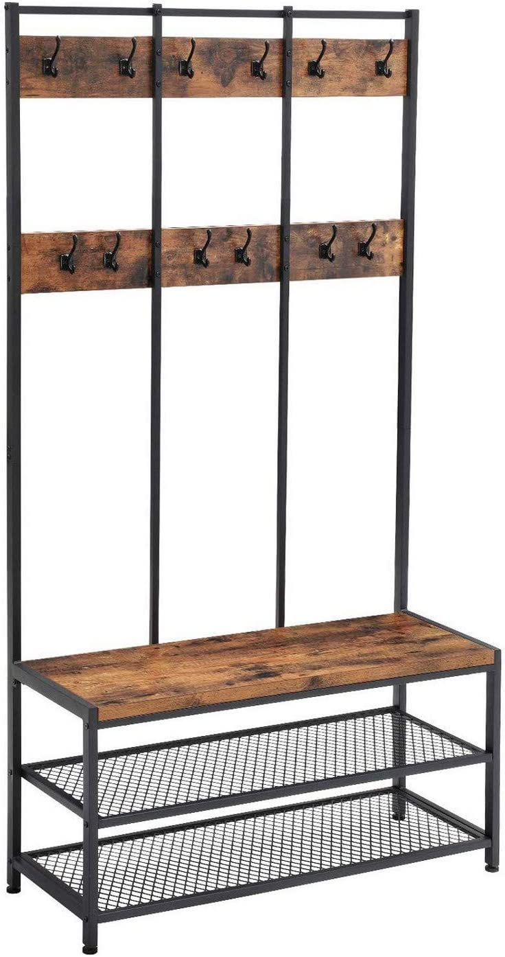 Benjara Wood and Metal Hall Tree Super beauty product restock quality top Open National uniform free shipping Hooks with 12 Shelve 3