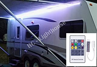 Premium RV LED Camper Awning Boat 16' Light Set with 20 Key Radio Frequency RF Remote RGB 16' ft Waterproof