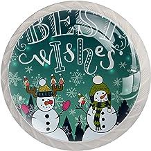 Kabinet lade knoppen grappige sneeuwpop winter bos en sneeuw trekt handgrepen voor keuken kast badkamer kast dressoir, 4 Pack