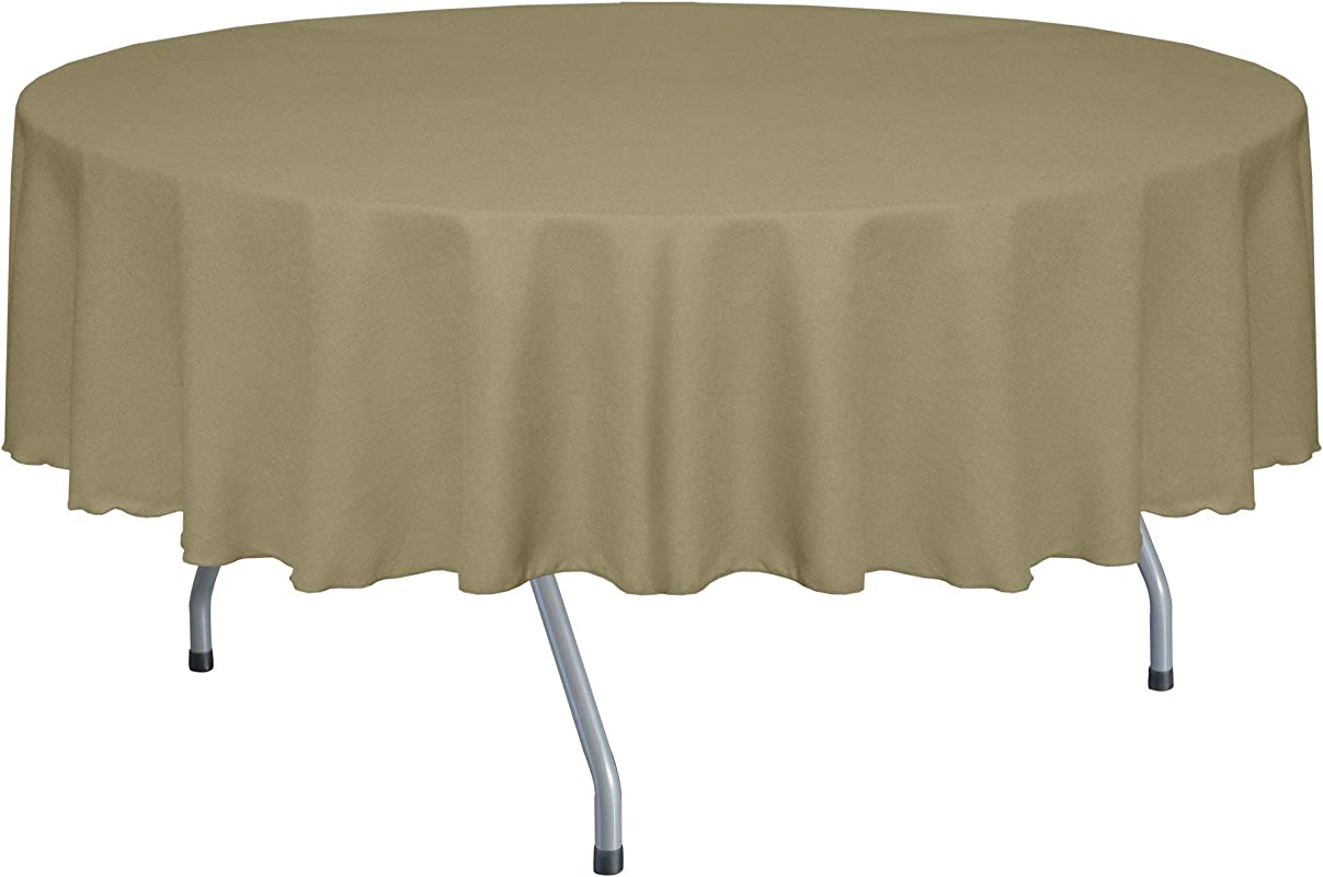 Ultimate Textile Faux Burlap Havana 72 Inch Round Tablecloth Basket Weave Natural