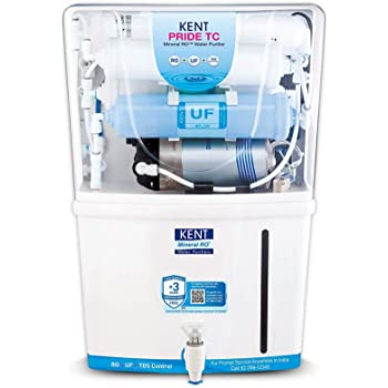 KENT Pride TC (11087), Wall Mountable, RO + UF + TDS Control + UV in Tank, 8 L Tank, White, 15 LPH Water Purifier