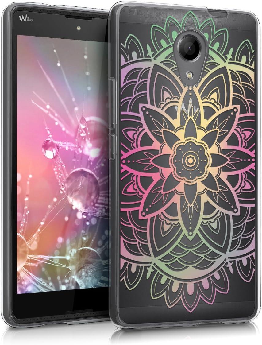 kwmobile Coque Compatible avec Wiko Robby - Housse Protectrice pour Téléphone en Silicone Fleurs centrales Multicolore-Fuchsia-Transparent