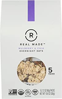Real Made, Oats Overnight Mulberry And Chia Organic 5 Count, 10.6 Ounce